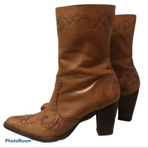 EDDIE BAUER stitched overlay heeled leather boots